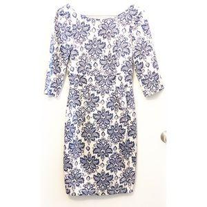 Patterned white and blue midi Dress, UK 8